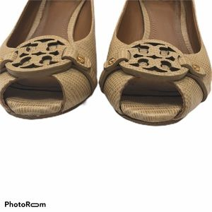 Tory Burch Shoes - Tory Burch Mini Miller Open-Toe Wedge trench tan